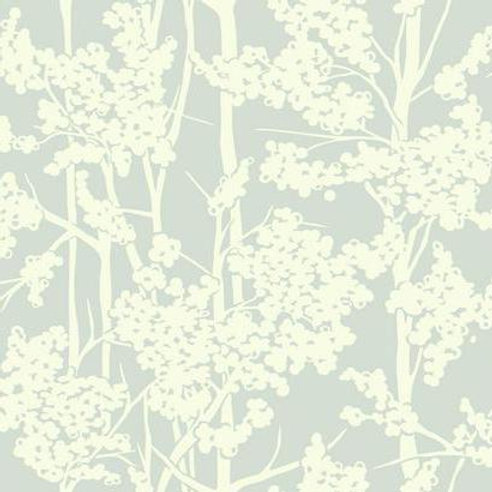 WALLPAPER HAVEN WHITE ON BLUE