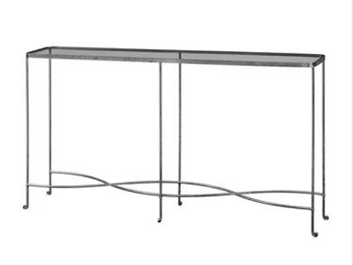 SILVER W/ GLASS NARROW CONSOLE