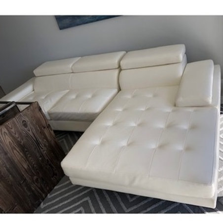 WHITE TUFTED LEATHER SECTIONAL