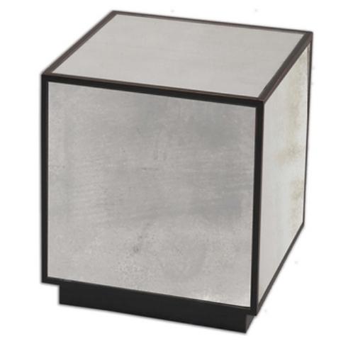 Black w/ Mirror Cube Accent Table