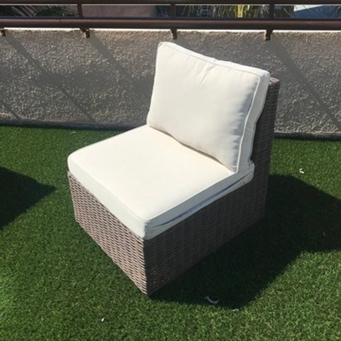 WOOD WEAVED OUTDOOR ARMLESS CHAIR