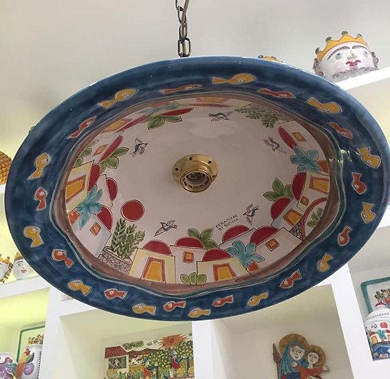 lampadario a ciotola diametro 35 con kit e catena