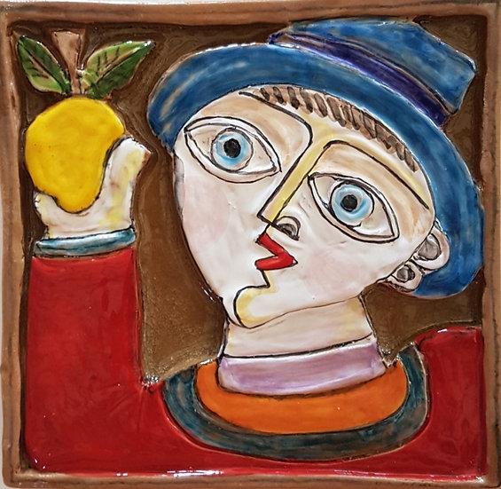 uomo con limone misura A cm 18 x 18