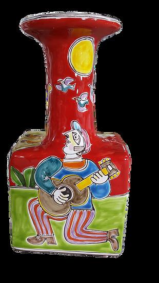 bottiglia firmata base rettangolare e collo lungo cm 8x8x25