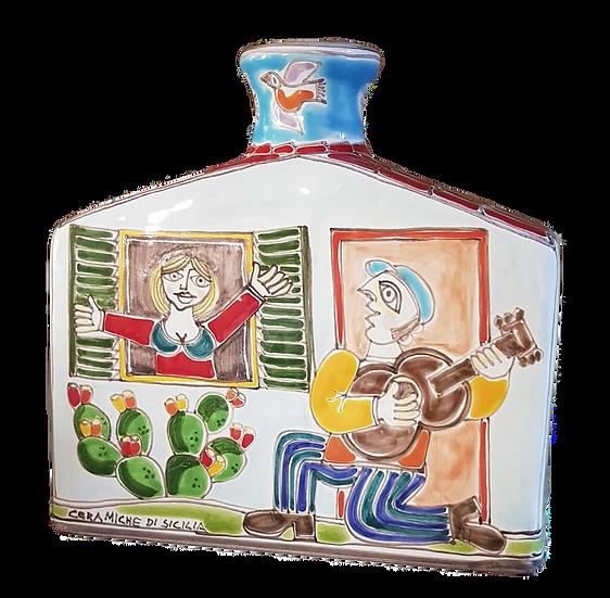 bottiglia firmata a casetta cm 20x20x6