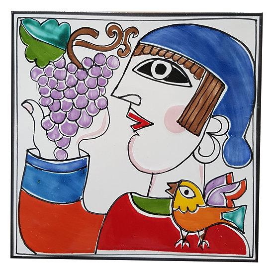 piastrella cm 15 x 15 art. 297 Uomo con uva