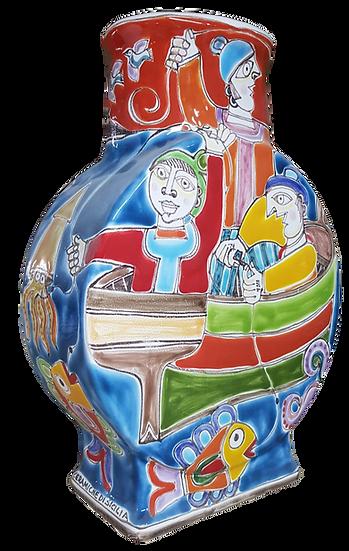 bottiglia firmata base rettangolare e forma tonda cm 20x8x27