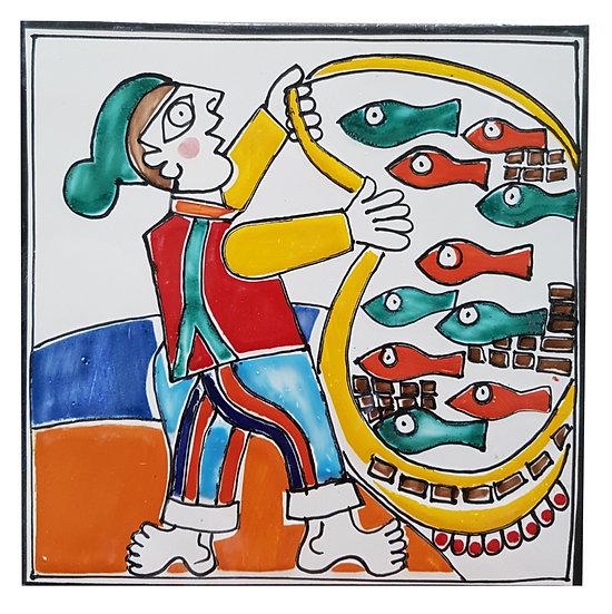 piastrella cm 15 x 15 art. 297 Pescatore con rete
