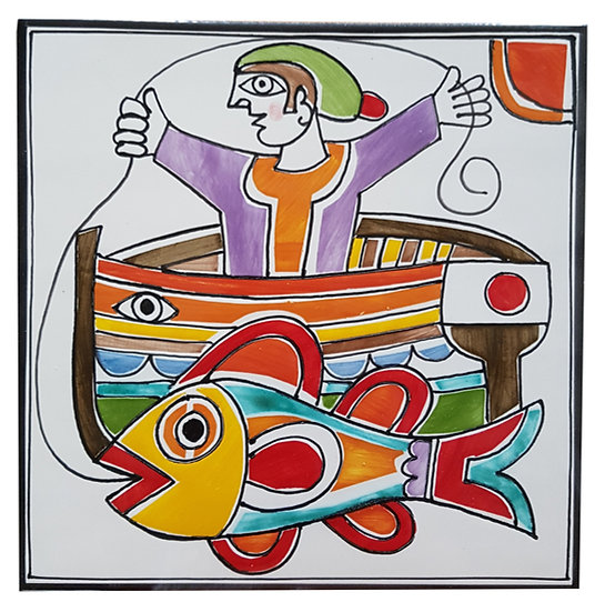 piastrella cm 15 x 15 art. 297 Pescatore in barca