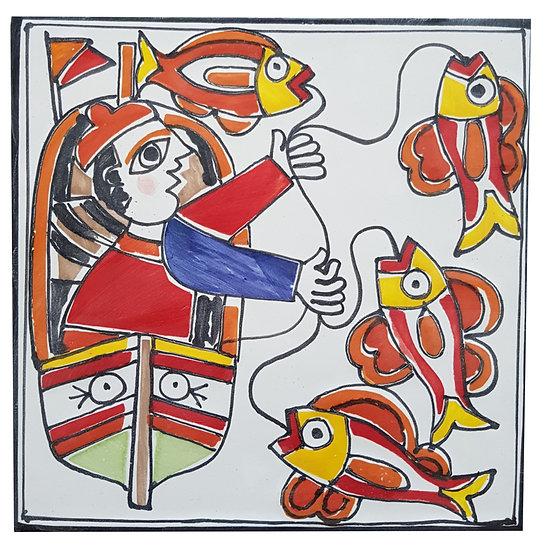 piastrella cm 15 x 15 art. 297 Pescatore in barca 2
