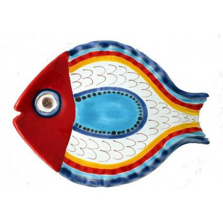 piatto pesce decoro 2 grande cm 40 x 28