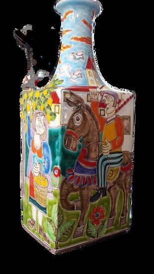bottiglia firmata base quadrata collo lungo cm 18x18x45