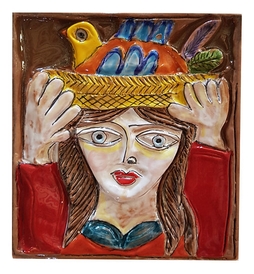 donna con cesta misura cm 18 x 18