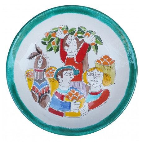 piatto diametro 35 folk bordo verde
