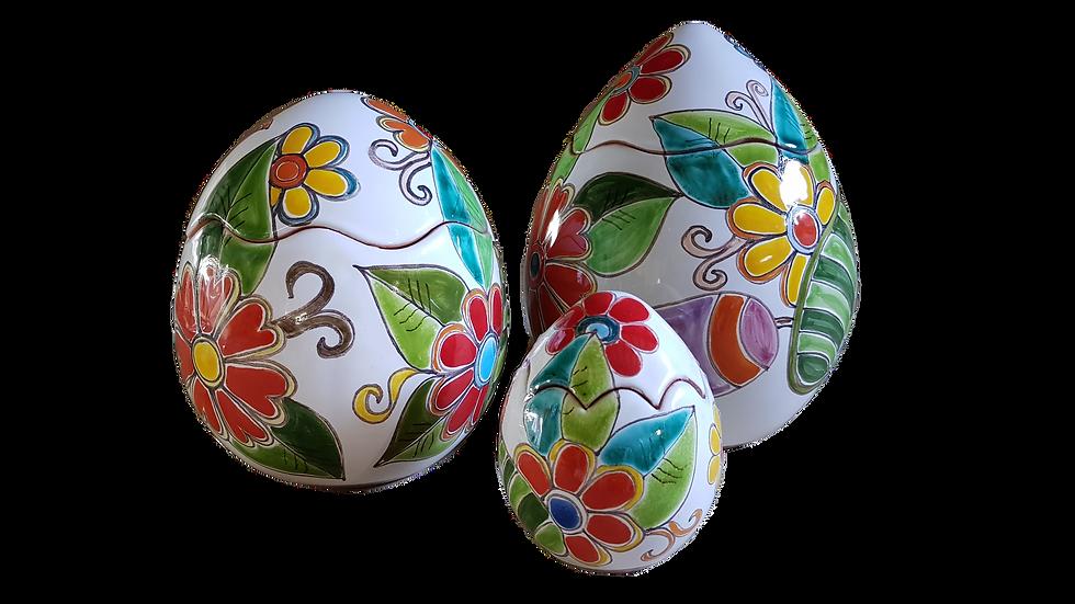 uova di varie misure e decori, a scatola a salvadanaio o chiuso, h 9 cm
