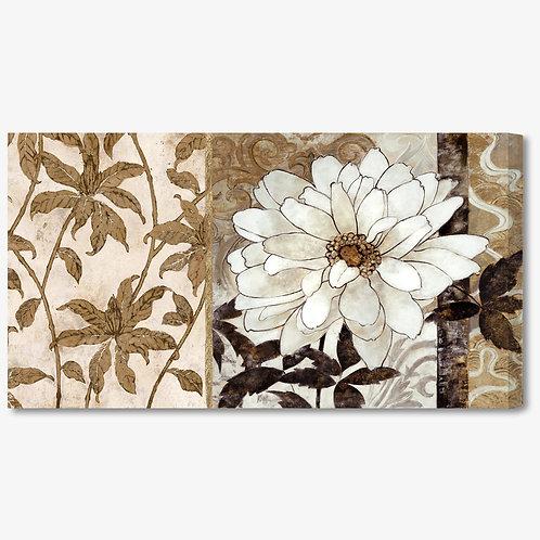 M226 - Quadro moderno floreale fiori bianchi e beige