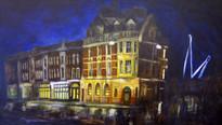 King Billy pub at night, Newport