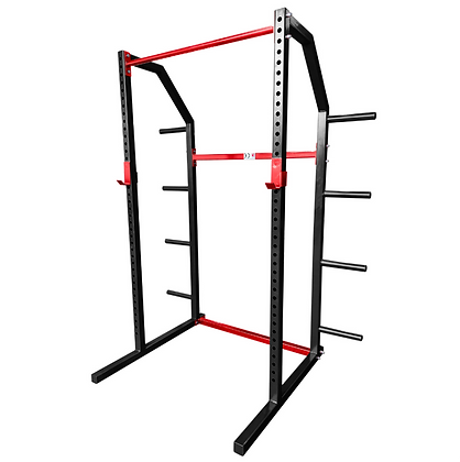 Black and Red Powder Coated Half Power Rack
