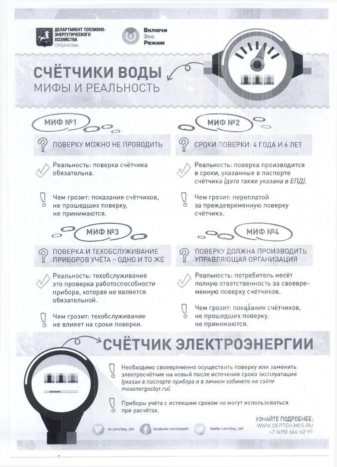 Информирование жителей по поверке счетчиков