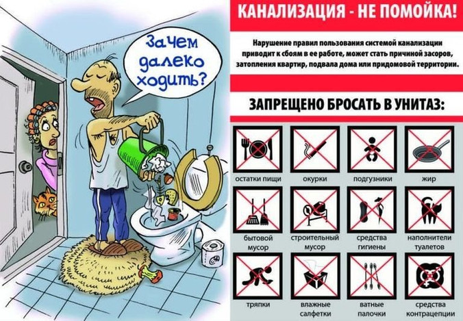 Информация для жителей. Правила пользования канализацией.