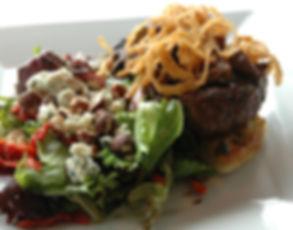 Steak Sandwich with crispy onions, sauteed mushrooms & Sonoma Salad with blue cheese, hazelnuts, sundried tomatoes.