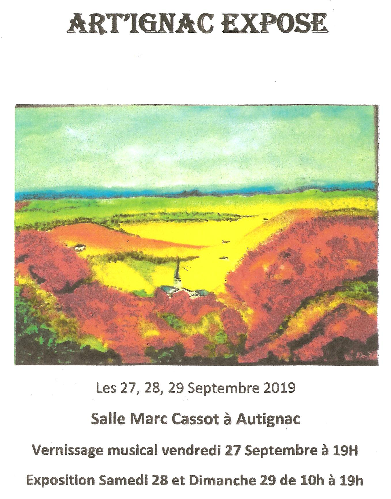 Art'ignac vernissage 27 sept 19 h