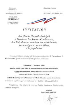 invitation 11 nov 2018