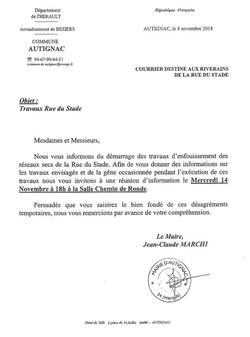 Réunion Travaux rue du stade 14 nov