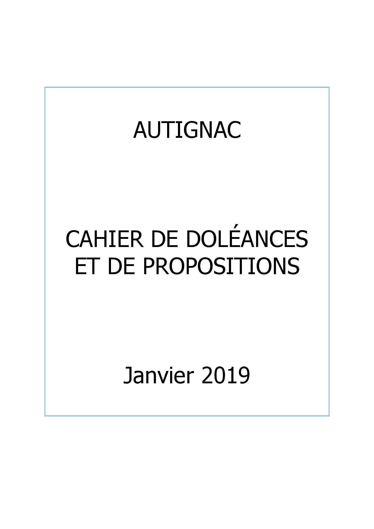 Cahier de doléances et  propositions