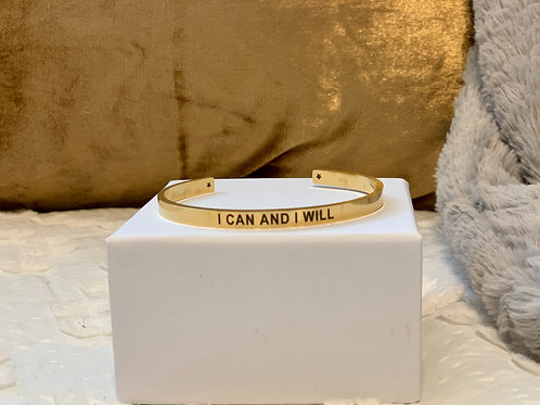 I CAN AND I WILL Gold Cuff