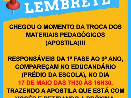 ATENÇÃO SENHORES PAIS E RESPONSÁVEIS!