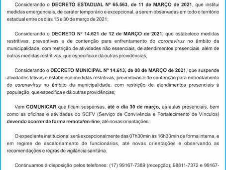 COMUNICADO CORONAVIRUS – COVID-19 (15/03/2021)