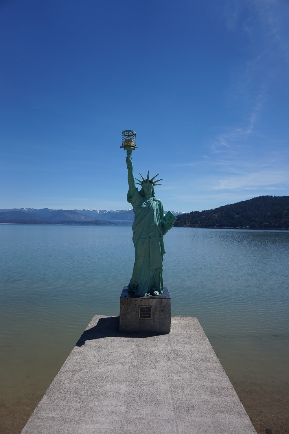 Statue of Liberty at Sandpoint lake