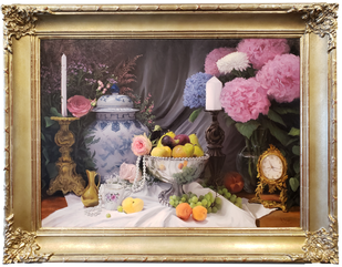 Hydrangeas, Silver and Fruit by Raleigh Mish