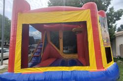 Slide, Climbing wall, jump area, hoop