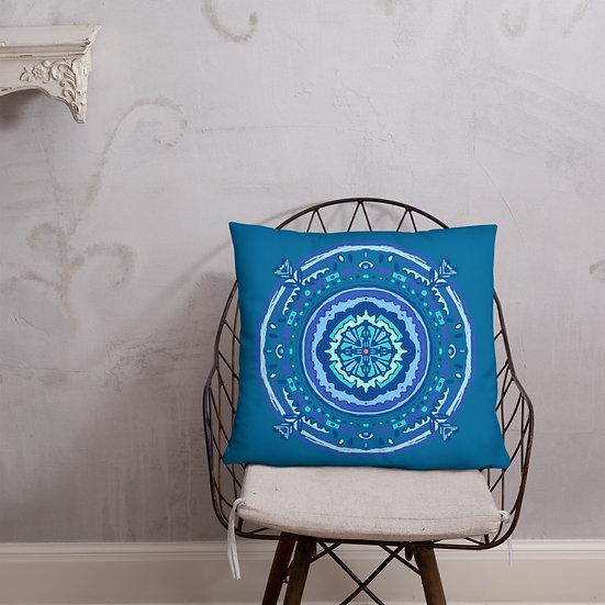 Beautiful Pillow with Blue Mandala