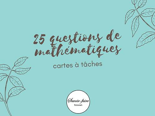 Cartes à tâches de mathématiques