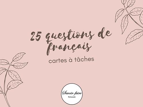 Cartes à tâches de français