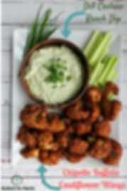 Chipotle Buffalo Cauliflowr wings cashew dill ranch dip