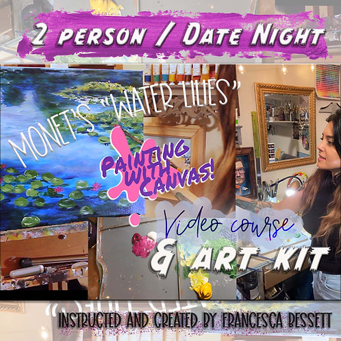 """Monet """"Water Lilies"""" 2 Person At-Home Art Kit & Video Course"""