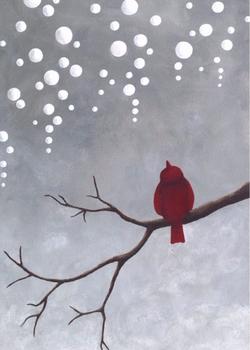 Snowy red bird