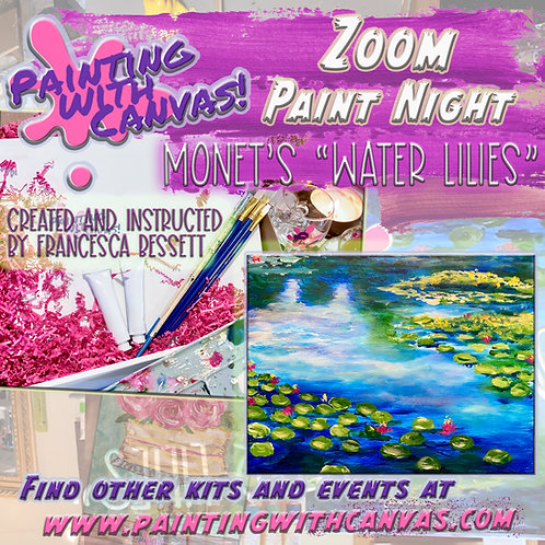"1/23 Zoom ""Water Lilies"" Paint Night- 2 person and more"