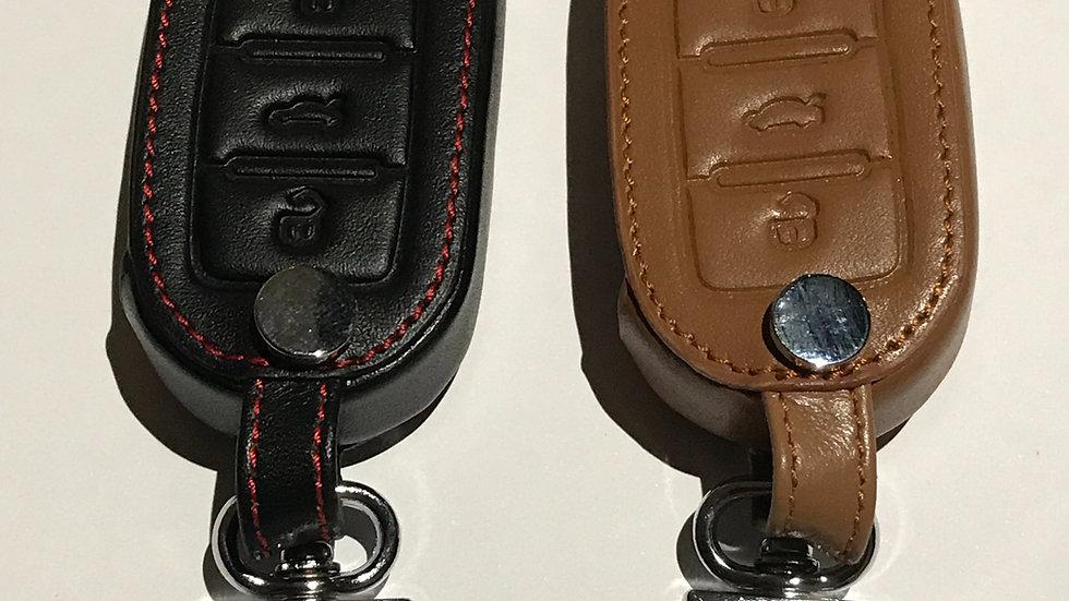 Faux leather VW 3 button key case