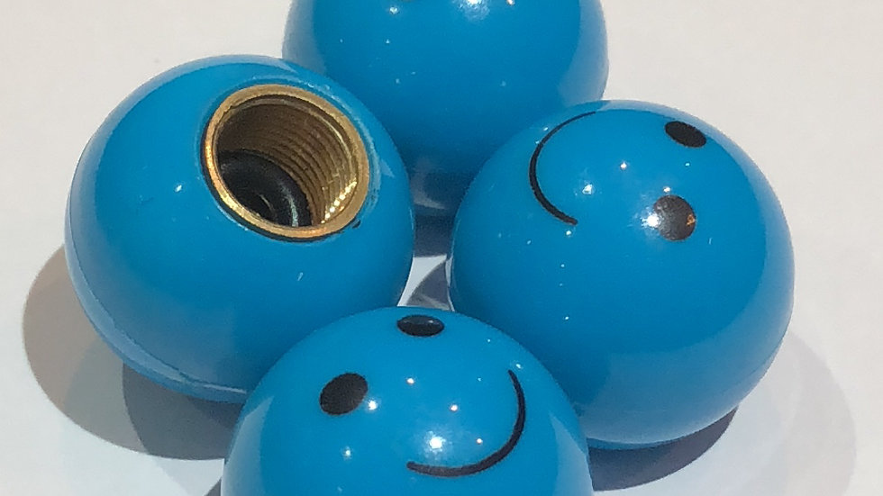 Blue smiley Emoji Valve Caps