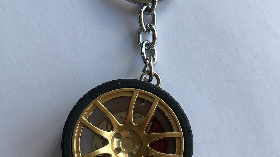 10 spoke gold Brembo keyring