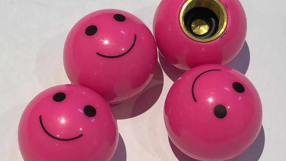 Pink smiley Emoji Valve Caps