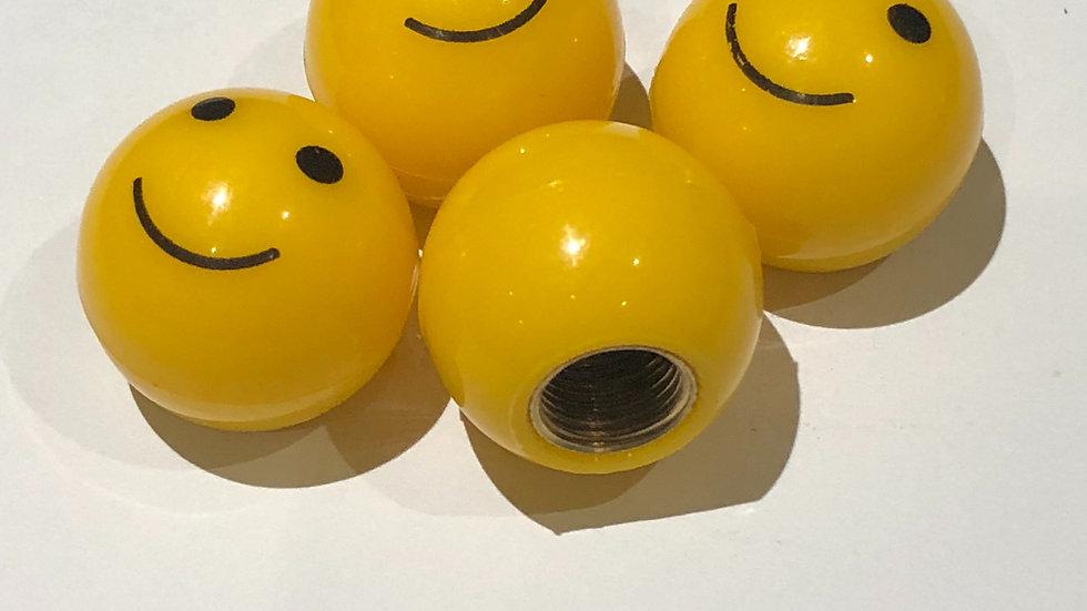 Yellow smiley Emoji Valve Caps