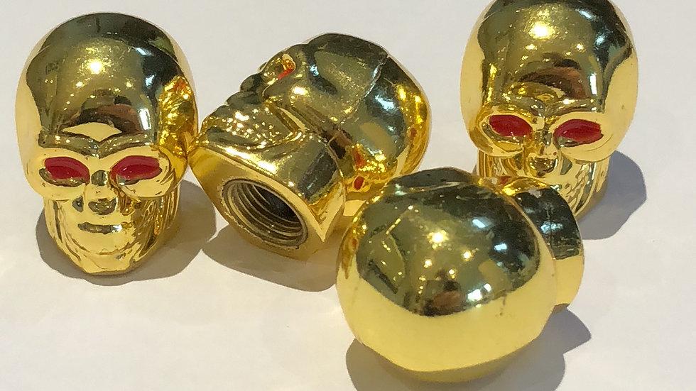 Gold Skull Valve Caps