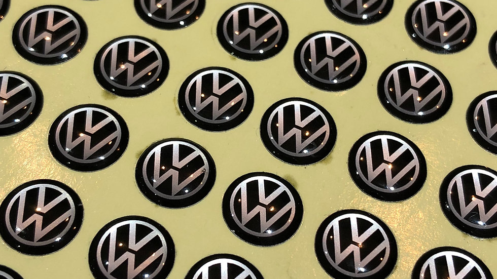 VW 10mm key badges. Set of 2. Black/Silver and Wolfsburg