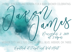 Turquoise Watercolor Baby Shower